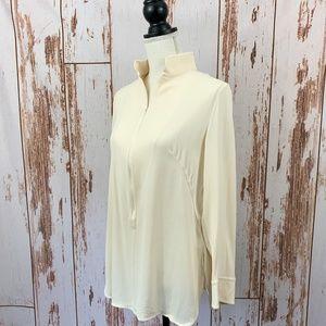 AKRIS Off White Silk Tunic 3/4 Zip Size 12